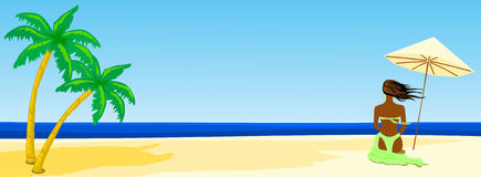Tropical beach. This vector illustration depicts a tropical beach with a panoramic girl from behind near a beach umbrella Royalty Free Stock Photography