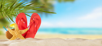Tropical beach with accessories on sand, summer holiday backgrou Stock Photo