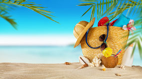 Tropical beach with accessories on sand, summer holiday backgrou Royalty Free Stock Photography