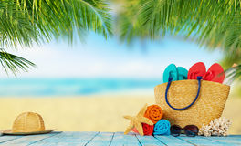 Tropical beach with accessories on wooden planks, summer holiday Royalty Free Stock Photos