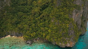 Tropical beach, aerial view. Tropical island. Wild beautiful beach with coconut palms. Tropical bay in El Nido. Aerial view: bay and the tropical island. Aerial stock video