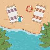 Tropical beach airview scene. Vector illustration design royalty free illustration