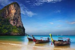 Tropical beach, Andaman Sea, Thailand. Tropical beach, traditional long tail boats, Andaman Sea, Thailand Stock Photography