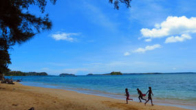 Tropical Beach Andamans. Children playing on tropical sea beach in Andaman and Nicobar Islands, India, Asia Stock Image