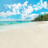 Tropical beach Anse Georgette at island Praslin, Seychelles Royalty Free Stock Images