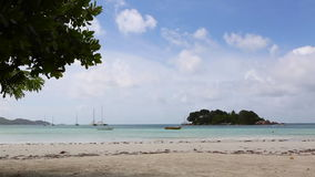 Tropical beach of Anse Volbert, Seychelles stock video
