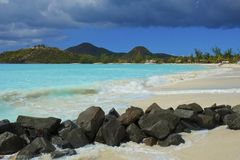 Tropical beach in Antigua, Caribbean royalty free stock images