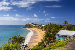 Tropical beach at Antigua island in the Caribbean. Idyllic tropical beach at Antigua island in the Caribbean with white sand, turquoise ocean water and blue sky Stock Photos