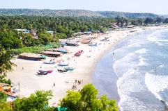 Tropical beach of Arambol. Tropical resort on the beach of Arambol, Goa, India Royalty Free Stock Photo