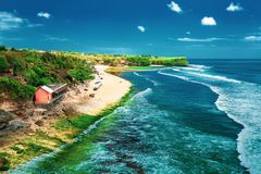 Tropical beach in Bali / A view of a cliff in Bali Indonesia stock photos