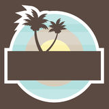 Tropical Beach Banner with two palm Royalty Free Stock Image