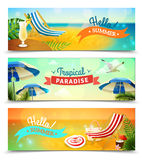 Tropical Beach Banners Set Stock Photos
