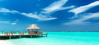Tropical beach bar. On the maldives royalty free stock photography