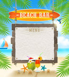 Tropical beach bar signboard. Tropical beach bar  - signboard surfboard and paper banner for menu - summer holidays  design Royalty Free Stock Photos