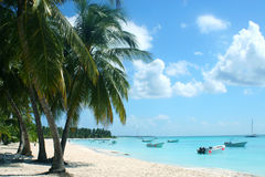 Tropical beach and bay Stock Photos