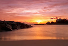 Tropical beach at beautiful sunset Stock Photography
