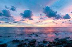Tropical beach at beautiful sunset. Royalty Free Stock Image