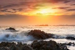 Tropical beach beautiful sunset at Sea Royalty Free Stock Photo