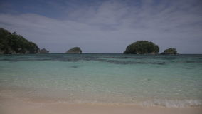 Tropical beach with blue sea stock footage