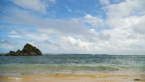 Tropical beach, blue sky, clouds. Catanduanes, Philippines. stock video footage