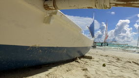 Tropical Beach. Boat on Tropical Beach stock video footage