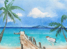 Tropical beach with boat and palms watercolor painting. Illustration Royalty Free Stock Images