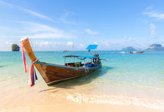 Tropical beach and boat Royalty Free Stock Photos