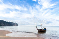 Tropical beach and boat Stock Image
