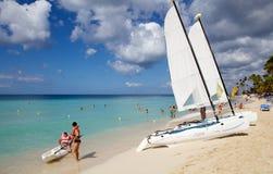 Tropical beach and boats Stock Photos