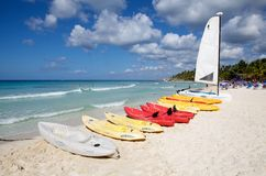 Tropical beach and boats Stock Photography