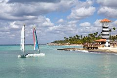Tropical beach and boats Stock Photo
