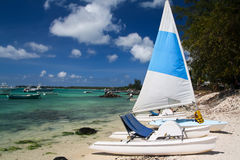 Tropical beach with boats Royalty Free Stock Photos