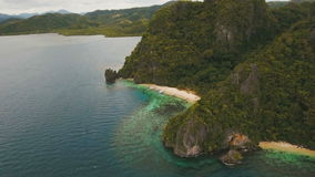Tropical beach with boats, aerial view. Tropical island. stock video