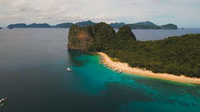 Tropical beach with boats, aerial view. Tropical island. stock footage