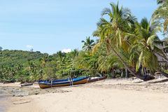 Tropical beach with boats Royalty Free Stock Images