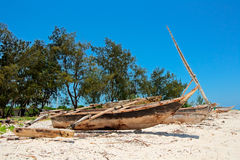 Tropical beach and boats Royalty Free Stock Images