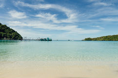 Tropical beach with boats and yacht at Andaman Sea in Phuket, Th Stock Images