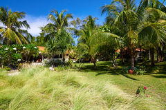 Tropical beach bungalow on ocean shore Stock Photography