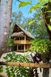 Tropical beach bungalow on ocean shore Royalty Free Stock Images