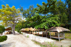 Tropical beach bungalow on ocean shore Royalty Free Stock Photo
