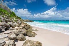 Tropical beach on the caribbean island (Crane beach, Barbados) Royalty Free Stock Photography