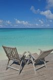 Tropical beach chairs Royalty Free Stock Photos