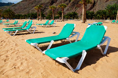 Tropical Beach Chaise-Longues. In Las Teresitas, Tenerife stock image