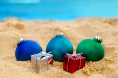 Tropical beach Christmas and New Year background Stock Images