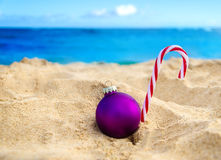 Tropical beach Christmas and New Year background Stock Photos