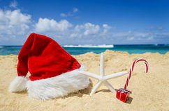 Tropical beach Christmas and New Year background Stock Photo