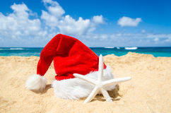Tropical beach Christmas and New Year background Stock Image