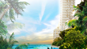 Tropical beach in city Stock Photos