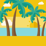 Tropical beach with cloud and sunset Royalty Free Stock Images