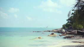 Tropical beach with coconut palm tree and white sand on Koh Samui coastline. 1920x1080. Hd stock video footage